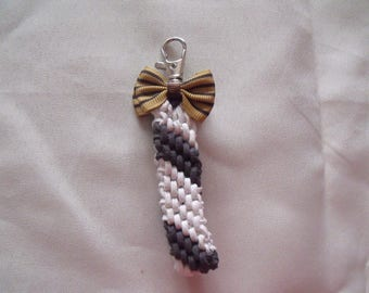 LIQUIDATION Keychain gray and white bow suede mustard