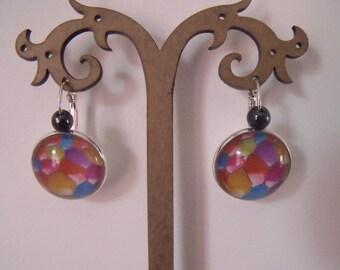 SALE earrings cabochon 20mm hematite bead
