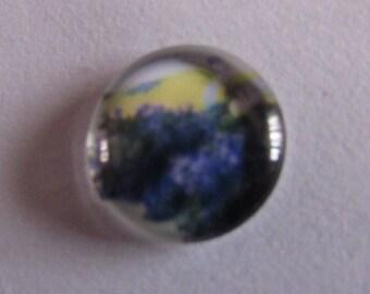 2 glass cabochons 12mm landscape theme