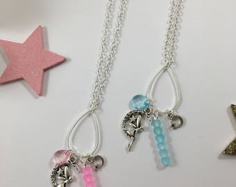 Necklace silver fairy Tink pink or blue