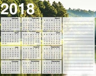 2018 Year at a Glance Printable PDF Calendar