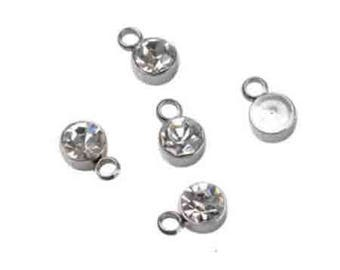 1 pendant charm stainless steel with Rhinestones 8x5mm