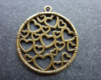 10 round ornate hearts charms bronze 32 * 32 mm