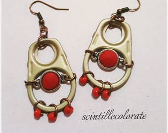 Recycled red earrings