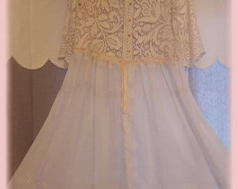 ROBE shabby chic lace antique embroidered cotton voile eyelet