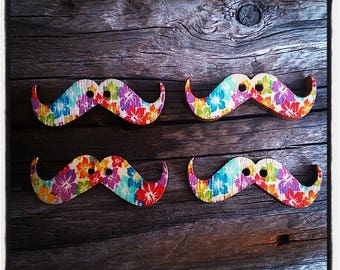 Set of 4 Wood Mustache patterned hibiscus 30 mm x 10 mm buttons