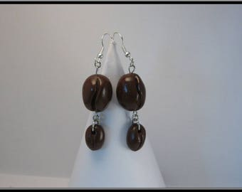Earrings in polymer clay coffee beans
