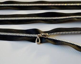 Fermeture éclair STRASS noire - 20cms - ZIP EFFET BRILLANT