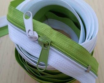 Large zipper 6 1 meter Bicolor white and lime green long Nylon zipper