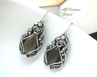 "WIRE WRAP WIRE TWIST ""SAHARA"" STERLING SILVER EARRINGS"
