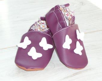 Slippers size 22 purple white butterflies