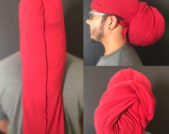 Red jersey sleeping cap, Men/Women, Hair Cover, Head Wrap