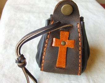Purse medieval rust-brown leather hand stitched