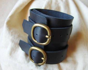 Handmade strength wide bracelet black leather