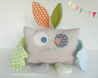 cushion blanket and puppet p' little monster Bunny carrot and the great Noreille color *.
