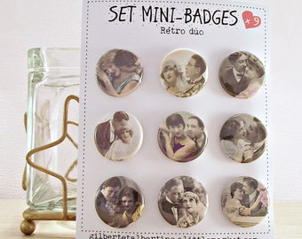 Mini badges 25 mm / 'retro Couple.