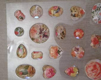 Diamond flower scrapbooking stickers