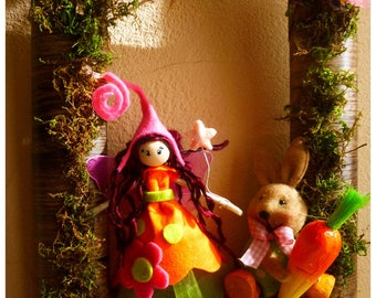 Original frame with the fairy and her rabbit friend / fairy creation / Easter