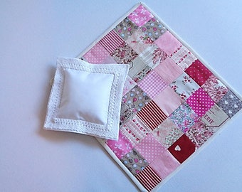 Quilt and pillow cover with Pillow for bed Doll or doll