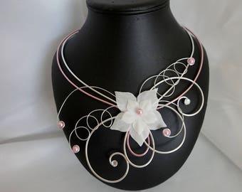 CAMILIA wedding pink & white necklace