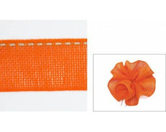Orange flowers 40mm collar linen Ribbon