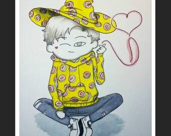 Mark Tuan print, GOT7 card, igot7, kpop art, donut sweater fanart, Inktober, magic