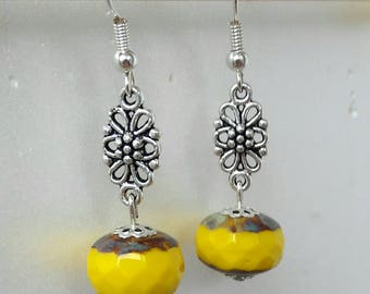 Earrings yellow Czech glass beads silver connector