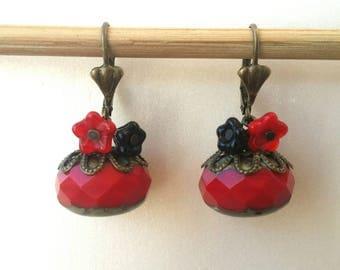Flowers earrings Bohemian Red