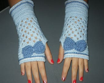 wool mittens with little bow Denim Blue