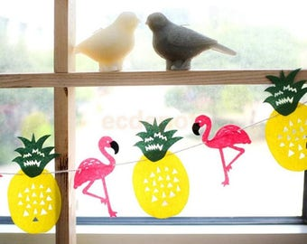 Pineapple and tropical Flamingo party or decoration Garland