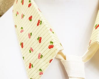 Neck tie removable old retro yellow and cherry