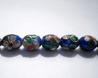 Asian cloisonné bead oval 9 X 7 mm