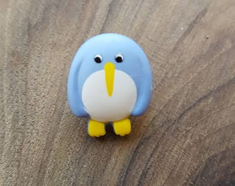Fancy Blue Penguin polyester button
