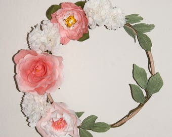 Crown wall spirit boho wood and 7 flowers in Italian, deco floral quality crepe paper.