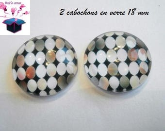 2 18mm domed glass cabochon