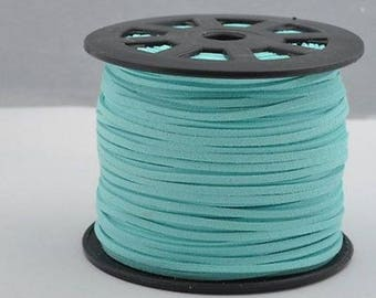 2 meters of light blue suede. Width 3mm thickness 1.5 mm