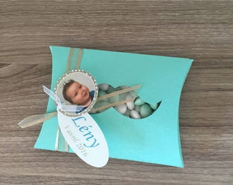 Gift card holder for sweets baptism communion - Theme mustache & picture