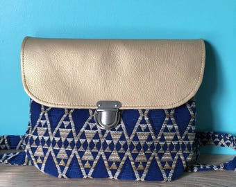 Geometric pattern flap Messenger bag