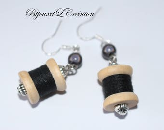 Coil earrings original and funny wooden black yarn
