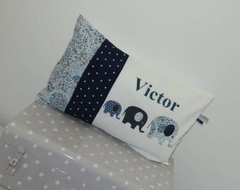 Cushion personalized trio of elephants 30 x 50 to order