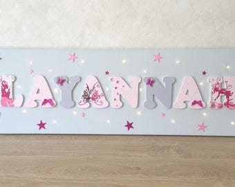 Light canvas - wood name on canvas - painting kids room - name table - Patrick