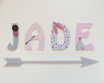 Indian theme wooden name - letters kids wooden Indian inspirations