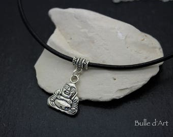 Necklace * seated Buddha * on a black leather cord