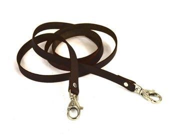 Fine brown leather strap dark lobster width 10 mm