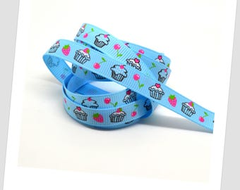 5 meters of Ribbon 9mm - blue / cupcakes / Strawberry / cherry