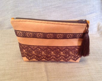 Romantic orange alcantara and stripes of chocolate lace clutch