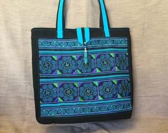 Large ethnic bag, turquoise blue Hmong embroidery and Black canvas tote bag.