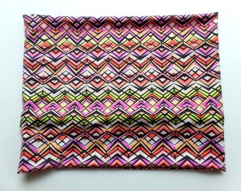 Elastic Headband, Neck Warmer, Yoga Band, Extrawide, Hair Accessory, Pink and Green Deco Chevron Knit Fabric