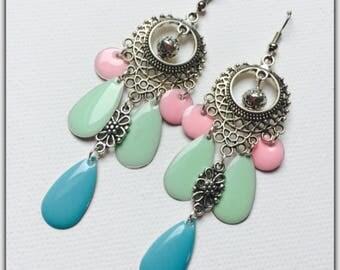 Colorful Bohemian earrings, Gypsy, pastel colors, sequins enamelled earrings
