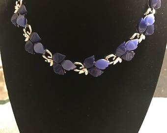 Vintage Blue Thermoset Leaves Necklace
